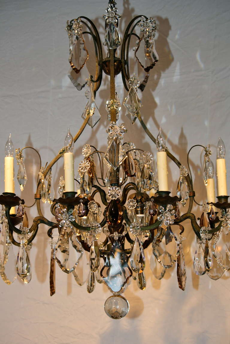 Louis Xv Large French Wrought Iron And Crystal Chandelier By Maison Baguès For Sale