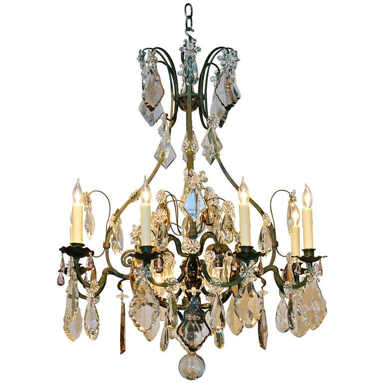 Large French Wrought Iron and Crystal Chandelier by Maison Baguès
