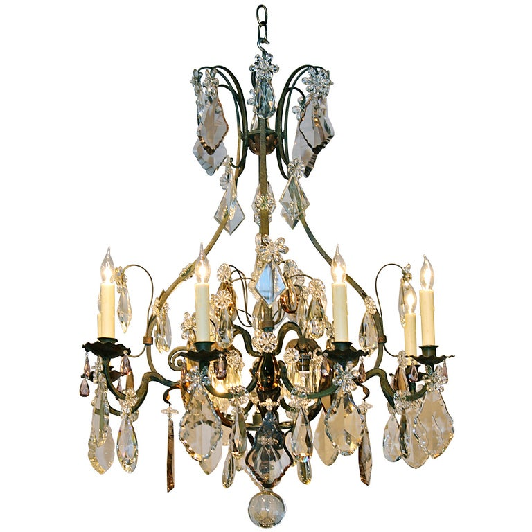 Large French Wrought Iron and Crystal Chandelier by Maison Baguès For Sale