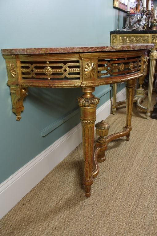 French Louis XVI Period Console Table with Breccia Marble Top For Sale 4