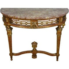 French Louis XVI Period Console Table with Breccia Marble Top