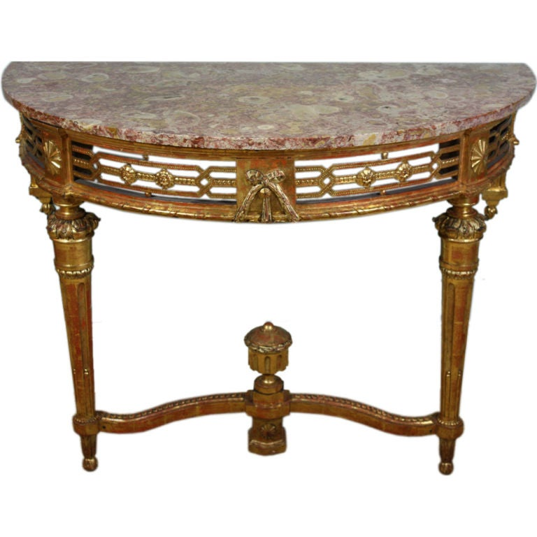 French Louis XVI Period Console Table with Breccia Marble Top For Sale