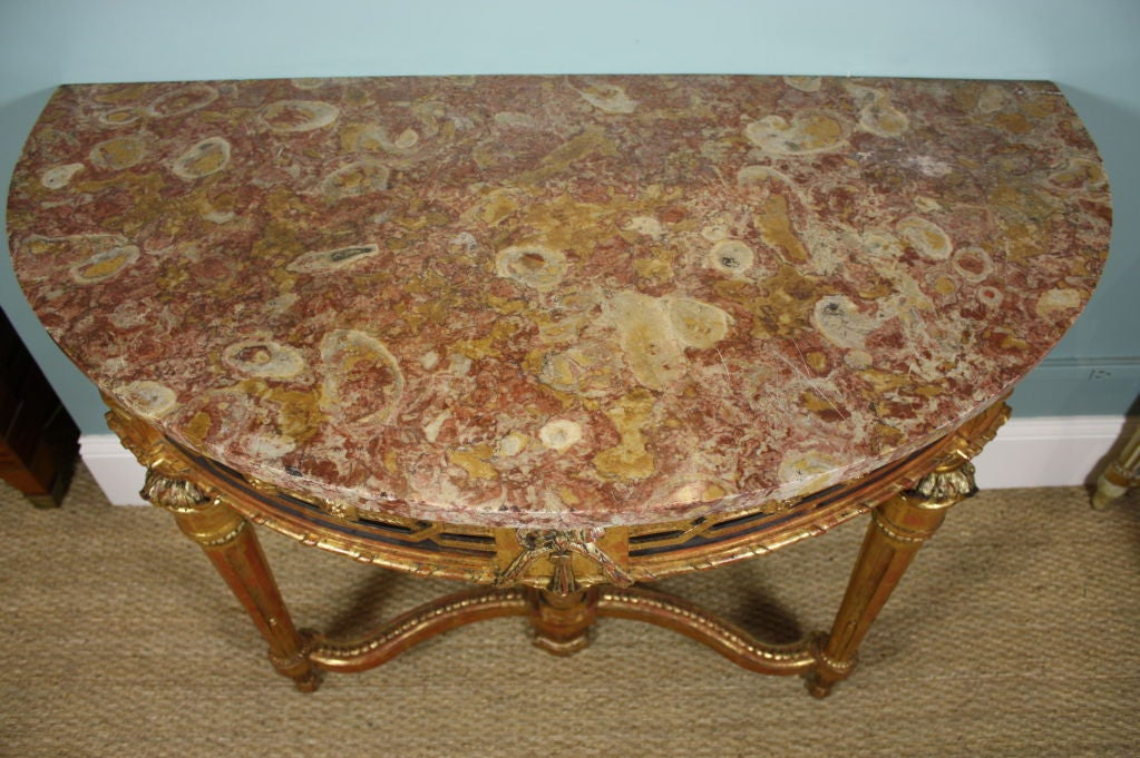 Carved French Louis XVI Period Console Table with Breccia Marble Top For Sale