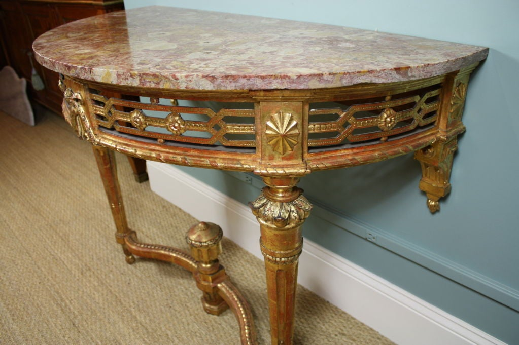 18th Century French Louis XVI Period Console Table with Breccia Marble Top For Sale