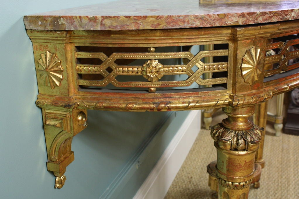 French Louis XVI Period Console Table with Breccia Marble Top For Sale 3