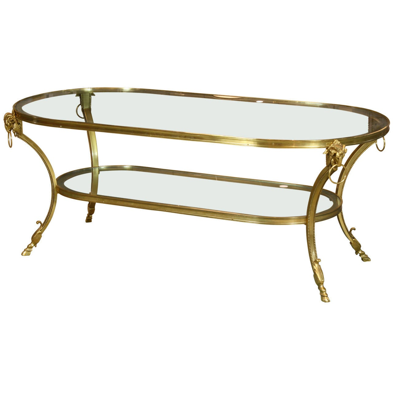Jansen gilt bronze coffee table with rams 39 heads at 1stdibs Bronze coffee tables