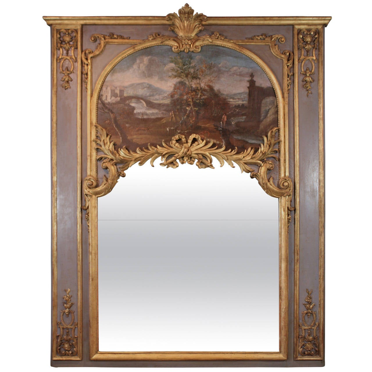 Impressive Louis XVI Period Trumeau Mirror For Sale