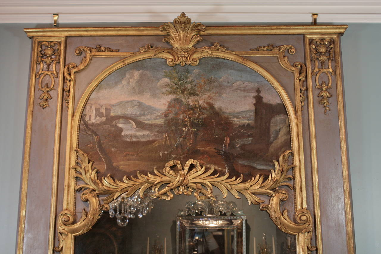 French Impressive Louis XVI Period Trumeau Mirror For Sale