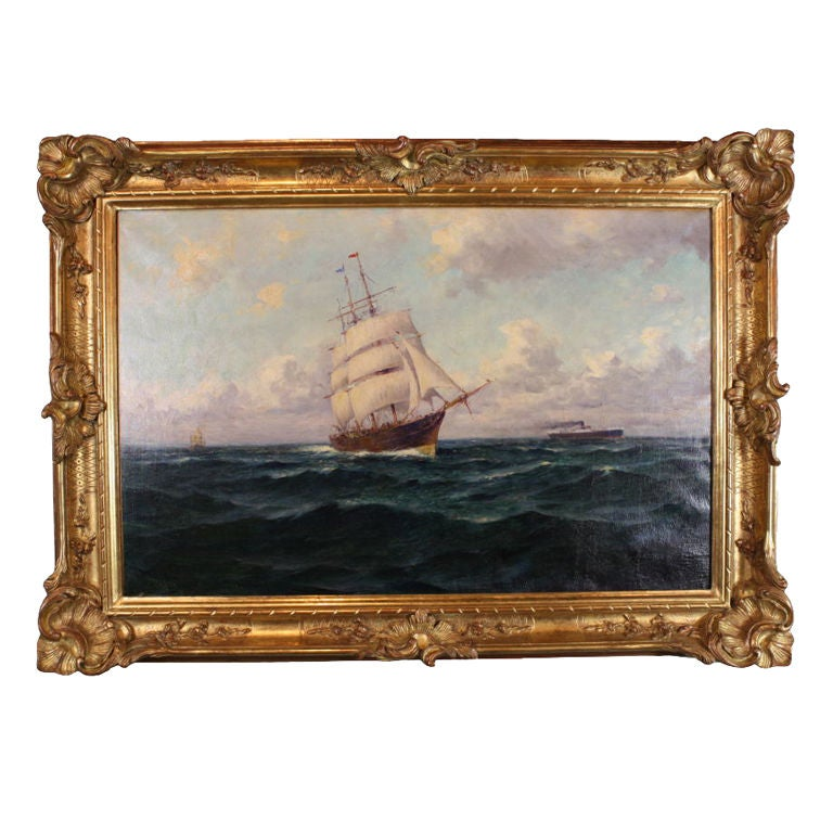 French Marine Painting by Malfroy