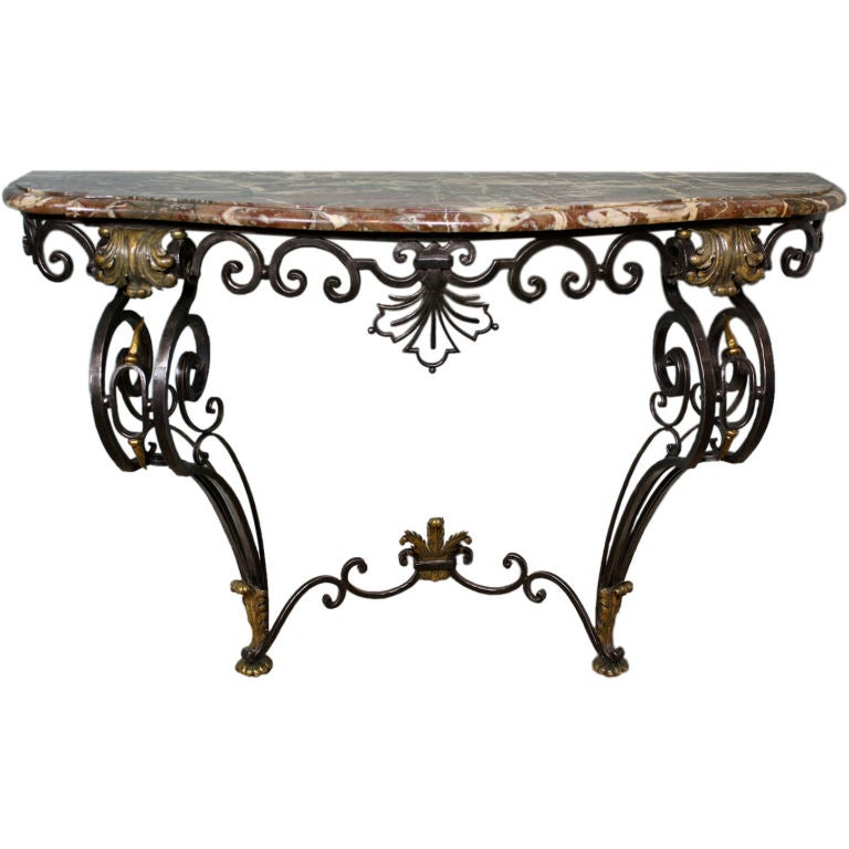 French wrought iron and marble top console at 1stdibs for Wrought iron sofa table base