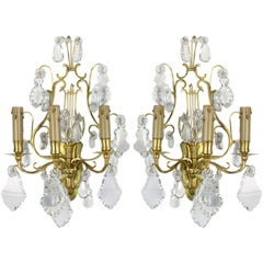 Pair of French Gilt Bronze and Crystal Lyre Form Sconces