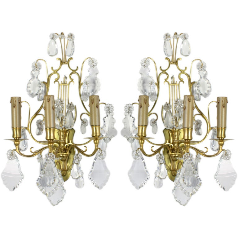 Pair of French Gilt Bronze and Crystal Lyre Form Sconces For Sale