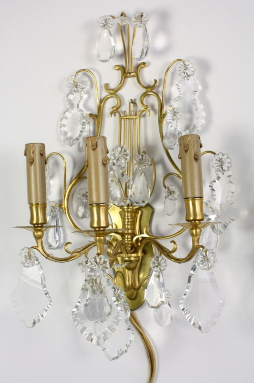 Pair of French Gilt Bronze and Crystal Lyre Form Sconces In Good Condition For Sale In Pembroke, MA