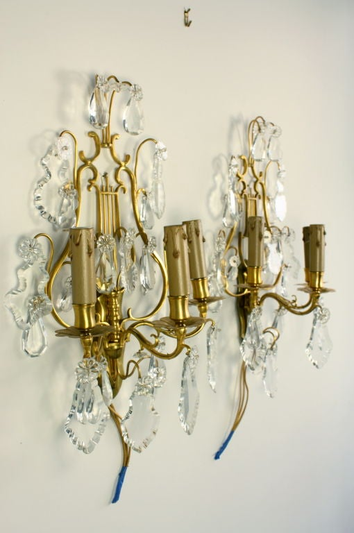 19th Century Pair of French Gilt Bronze and Crystal Lyre Form Sconces For Sale