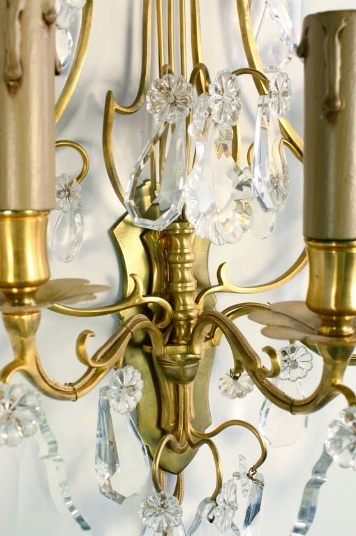 Ormolu Pair of French Gilt Bronze and Crystal Lyre Form Sconces For Sale