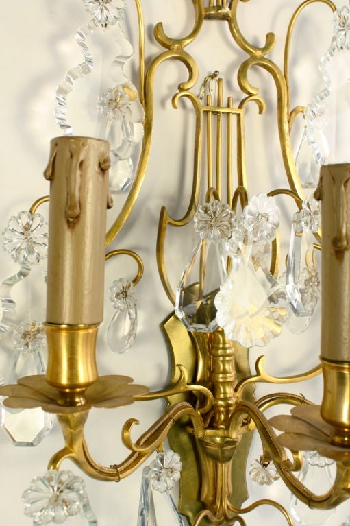Pair of French Gilt Bronze and Crystal Lyre Form Sconces For Sale 2