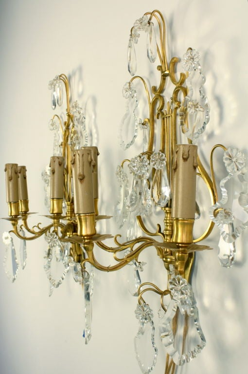 Pair of French Gilt Bronze and Crystal Lyre Form Sconces For Sale 3