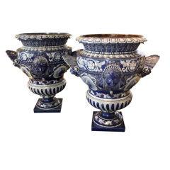 Pair of Large Italian Cobalt Blue Urns