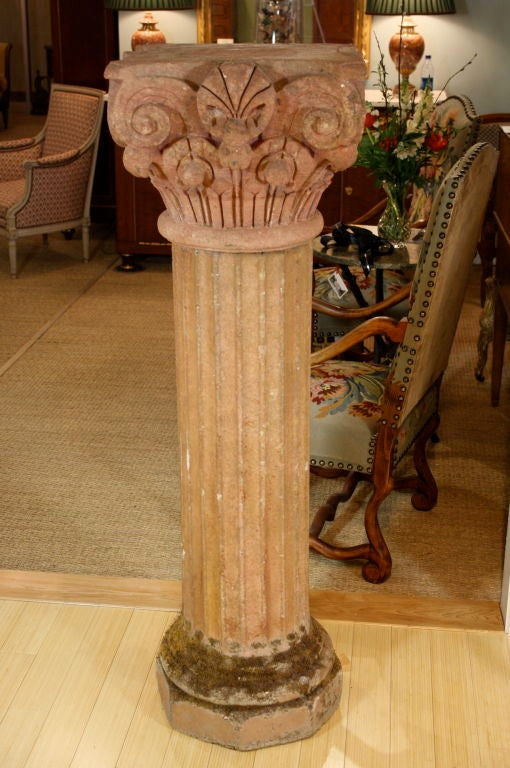 Massive Pair of French Carved Stone Columns In Good Condition For Sale In Pembroke, MA