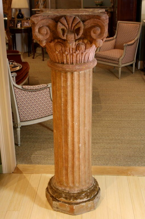 18th Century and Earlier Massive Pair of French Carved Stone Columns For Sale