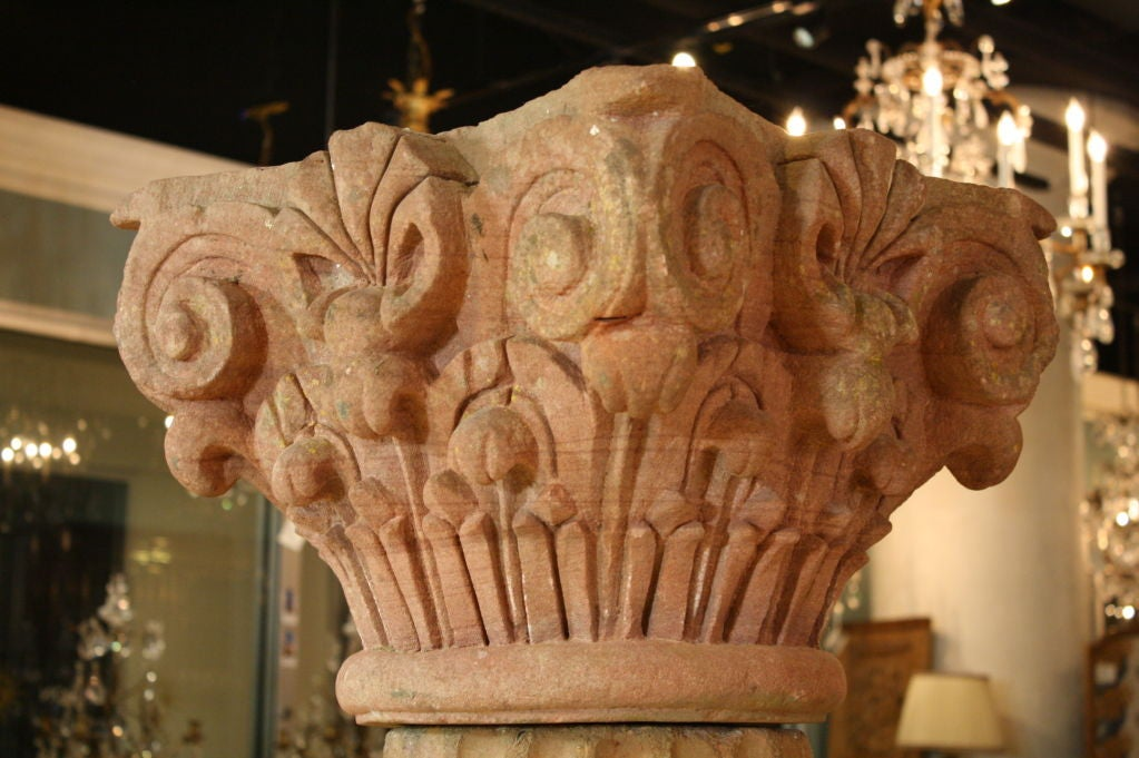 Massive Pair of French Carved Stone Columns For Sale 2