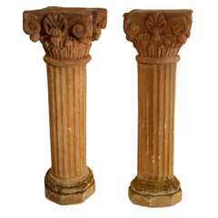 Massive Pair of French Carved Stone Columns