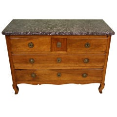 18th Century French Stamped Commode with Marble Top