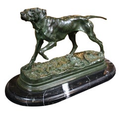 """French Bronze Sculpture of """"Hound on the Scent"""" Signed J. Moigniez"""