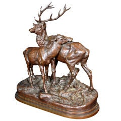 "French Bronze Statue of ""Stag and Doe"" by Alfred Dubucand"
