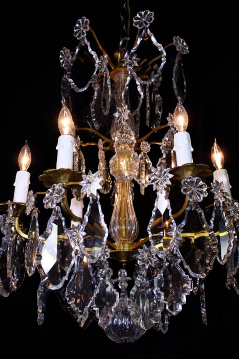 Ormolu French Gilt-Bronze Chandelier with Exceptional Crystals For Sale