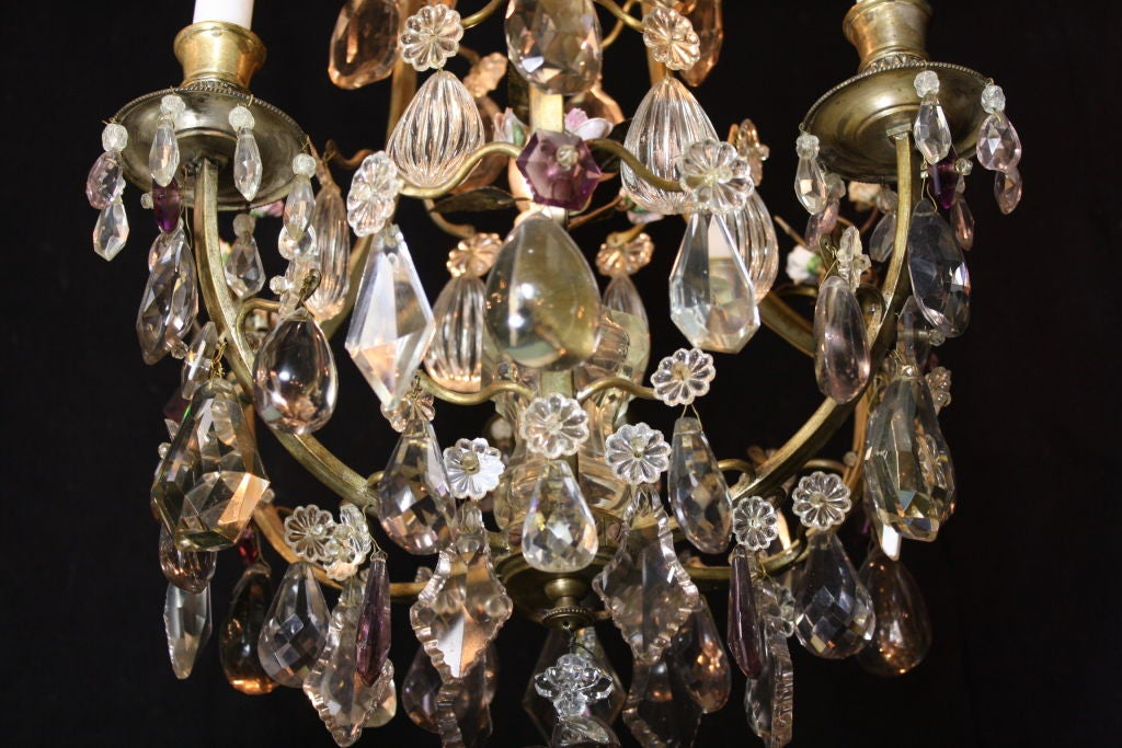 French Bronze and Crystal Chandelier with Porcelain Flowers 5