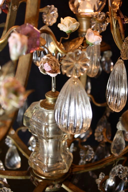 French Bronze and Crystal Chandelier with Porcelain Flowers 7
