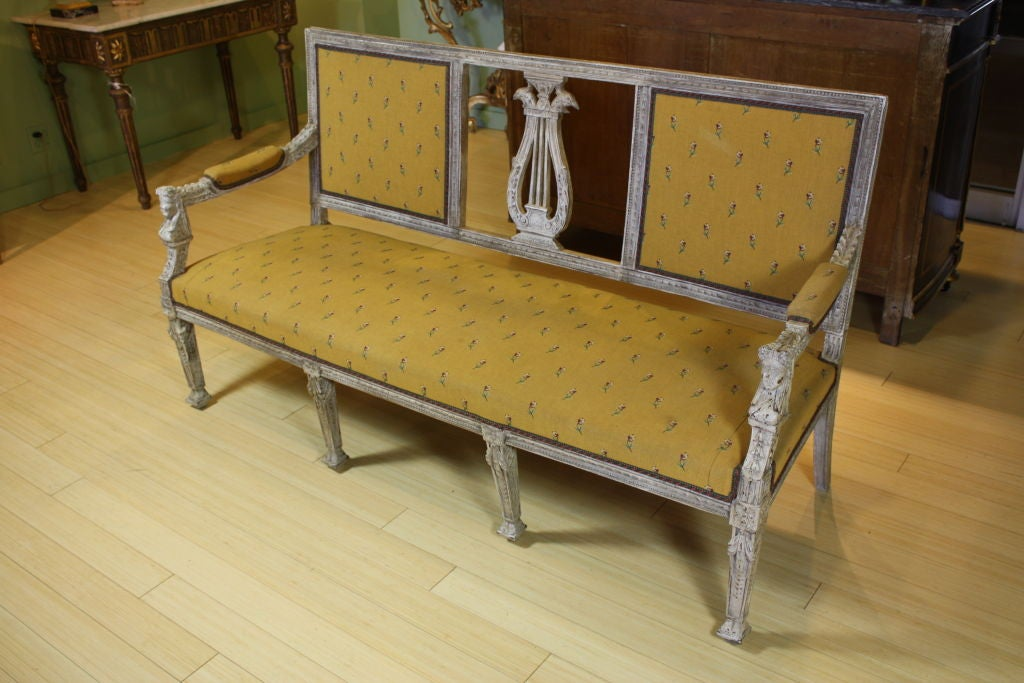Swedish Painted Settee with Lyre Back 2