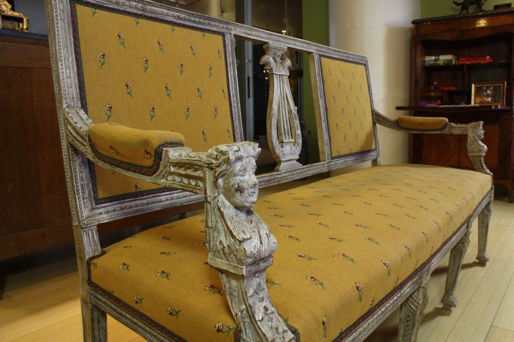 Swedish Painted Settee with Lyre Back 3