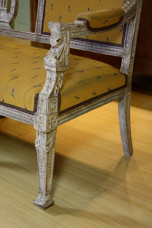 Swedish Painted Settee with Lyre Back 6
