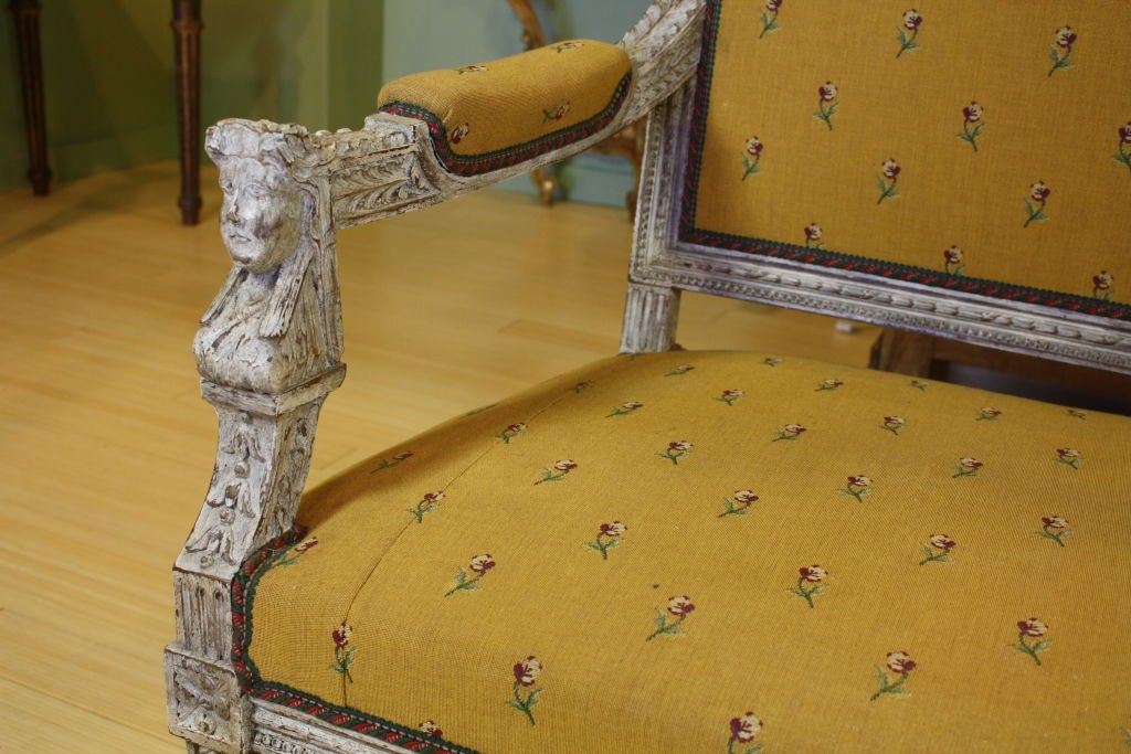 Swedish Painted Settee with Lyre Back 7