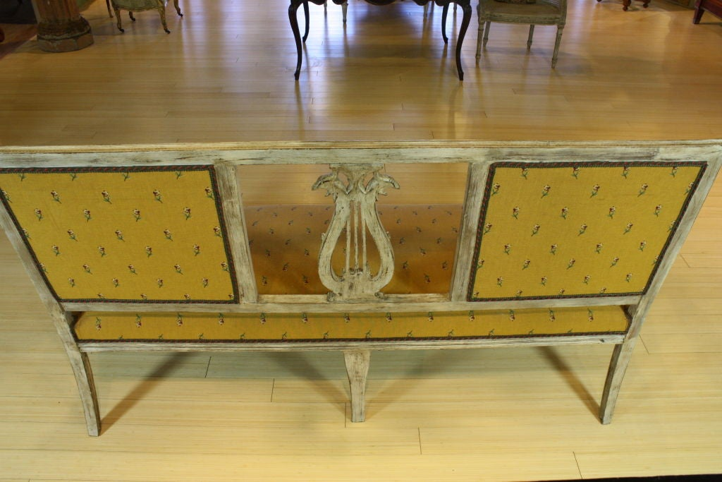 Swedish Painted Settee with Lyre Back 9