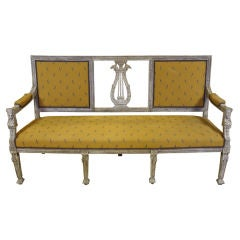 Swedish Painted Settee with Lyre Back