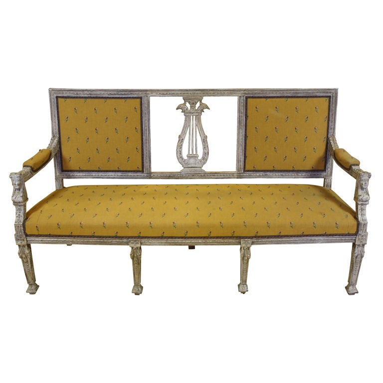 Swedish Painted Settee with Lyre Back 1