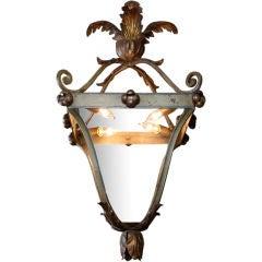 Italian Iron and Tole Leaf Lantern