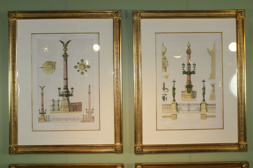Four framed architectural prints of the opera garnier for Architectural drawings for sale
