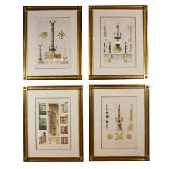 Four Framed Architectural Prints of the Opera Garnier, Paris