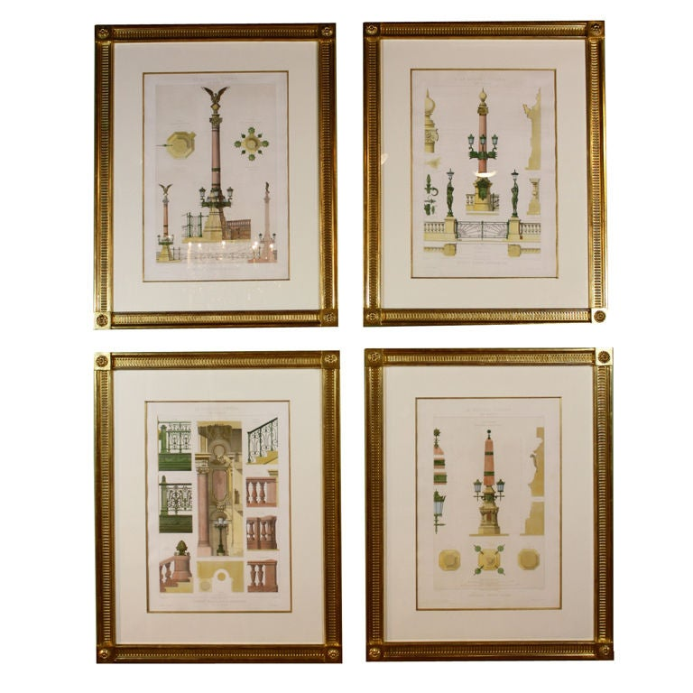 Four framed architectural prints of the opera garnier Printing architectural drawings
