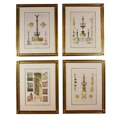 Four Framed Architectural Prints of the Opera Garnier, Paris