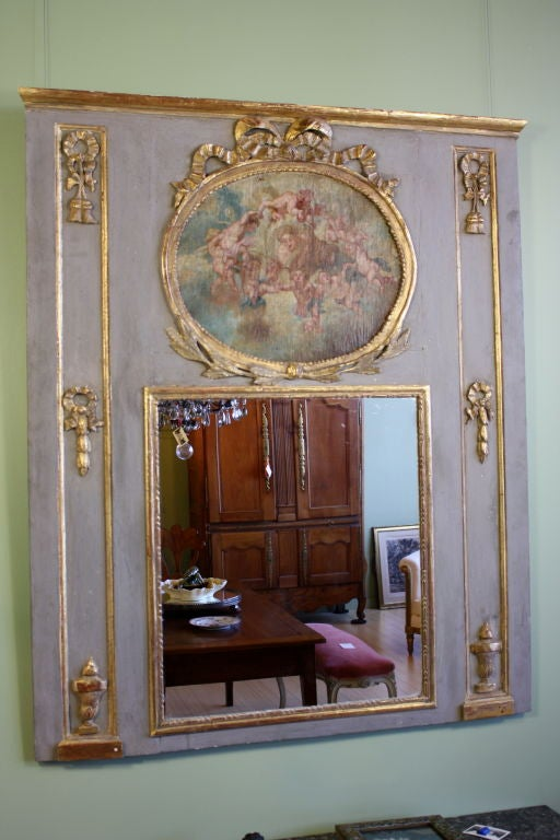 French Louis XVI Period Trumeau with Putti Painting For Sale