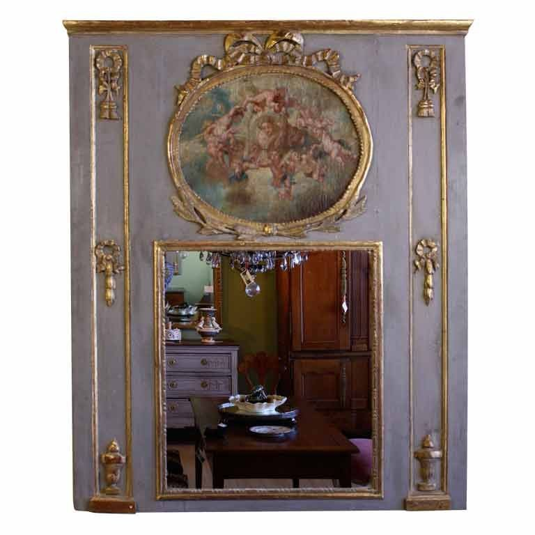 Louis XVI Period Trumeau with Putti Painting For Sale