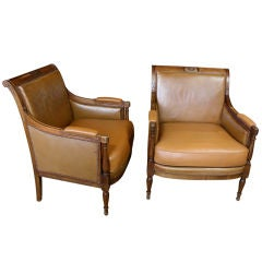 Pair of French Directoire Style Arm Chairs