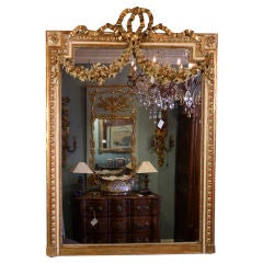 French Louis XVI Style Gilded and Polychrome Mirror