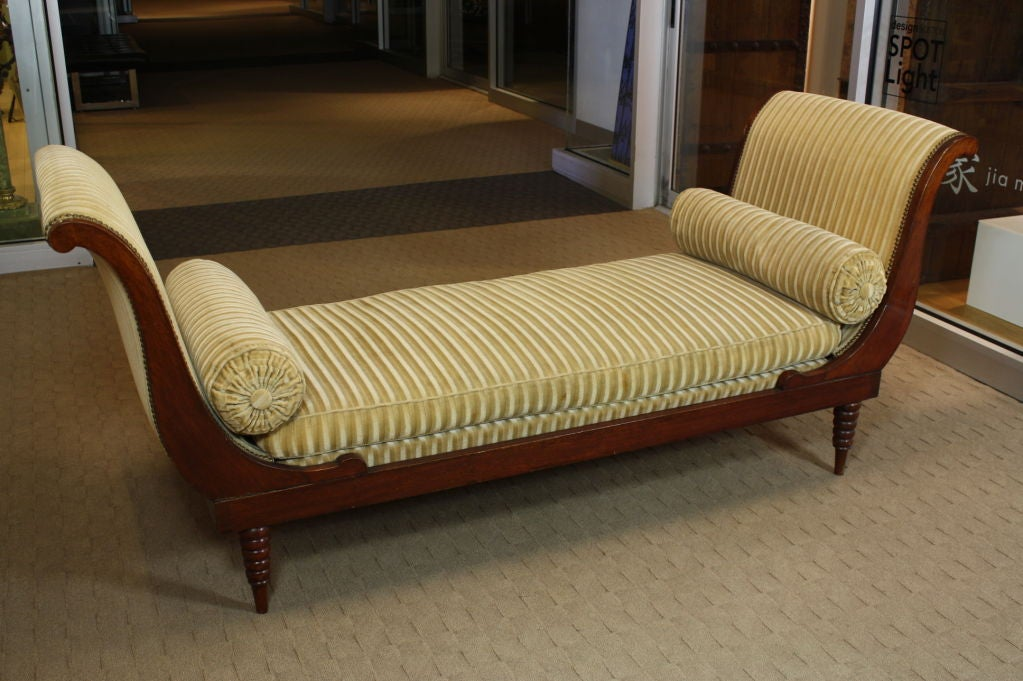 French Directoire Style Mahogany Recamier or Day Bed 2
