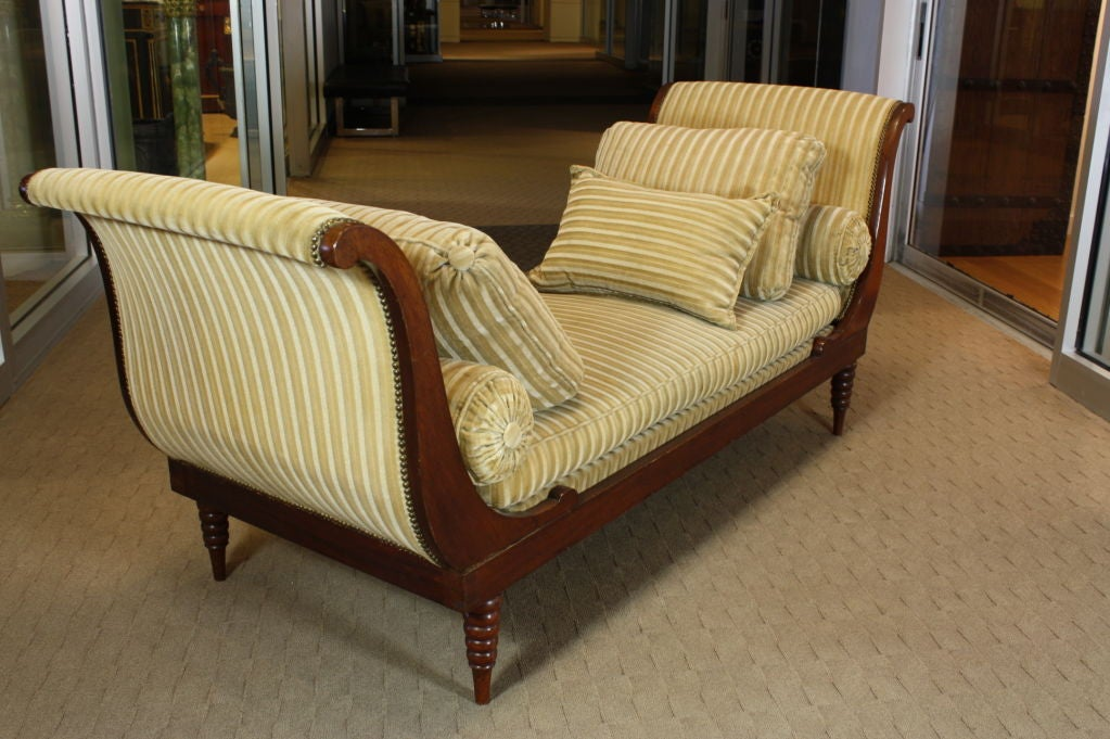 French Directoire Style Mahogany Recamier or Day Bed 5